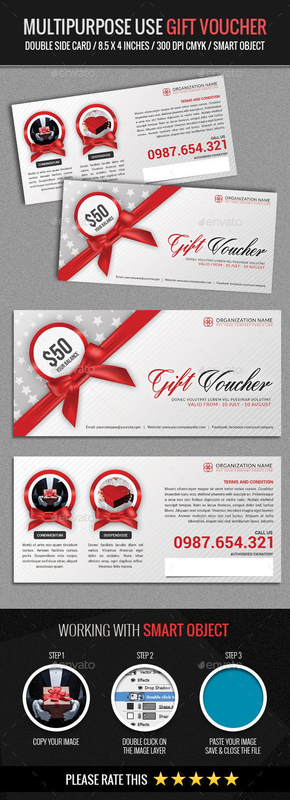 Multipurpose Use Gift Voucher Template - Loyalty Cards Cards & Invites