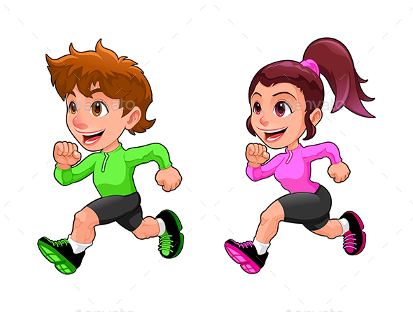 Funny Running Boy and Girl