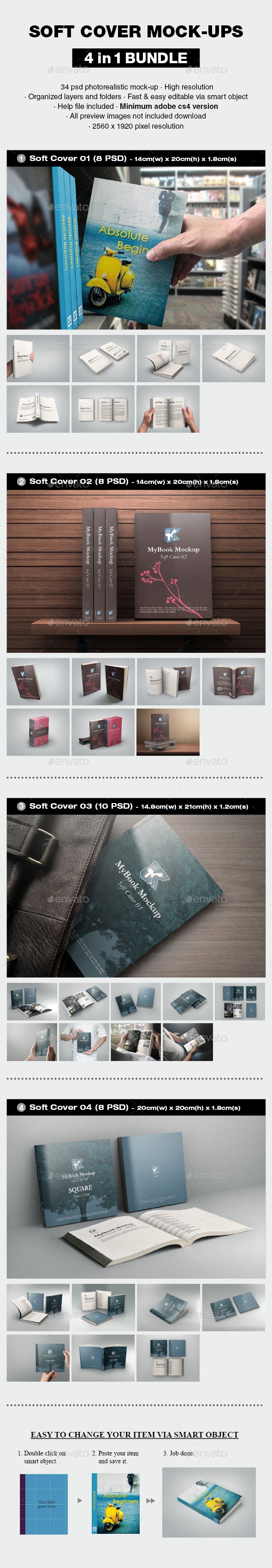 Soft Cover Mock-up Bundle - Books Print