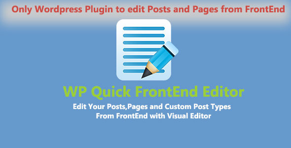 WP Quick Frontend Editor - CodeCanyon Item for Sale