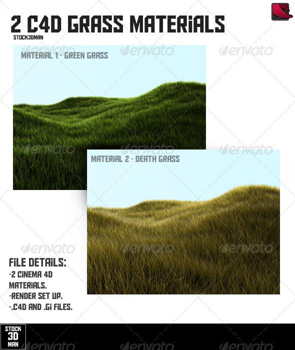2 Cinema 4D Grass Materials - 3DOcean Item for Sale