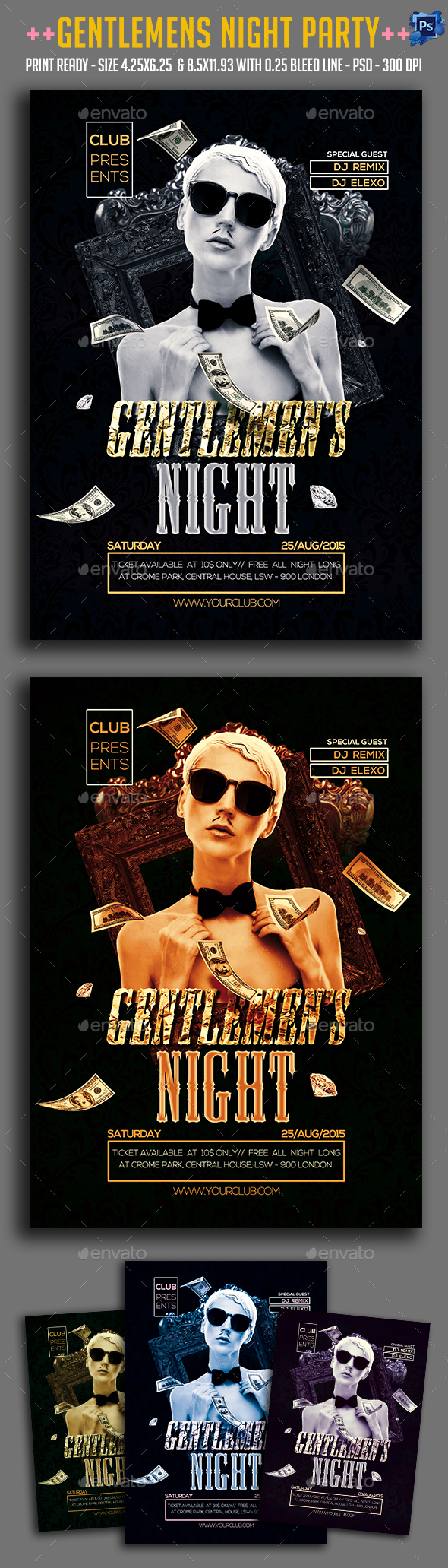 Gentlemen's Night Party Flyer - Clubs & Parties Events