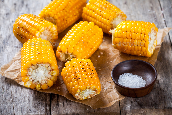 Grilled sweet corn with salt - Stock Photo - Images