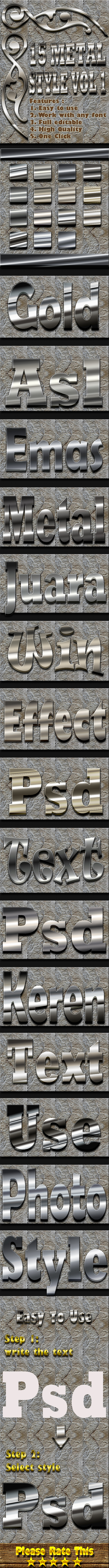 15 Metal Text Effect Style Vol 1 - Styles Photoshop