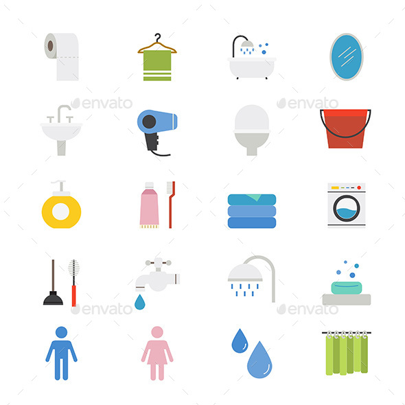 Bathroom and Toilet Flat Icons Color - Icons