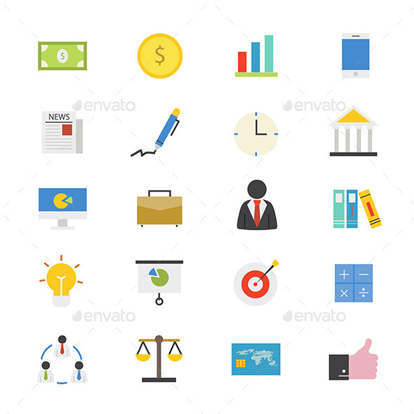 Business and Finance Flat Icons Color