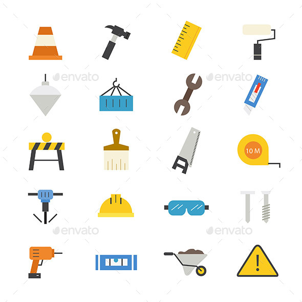Construction Flat Icons Color - Objects Icons