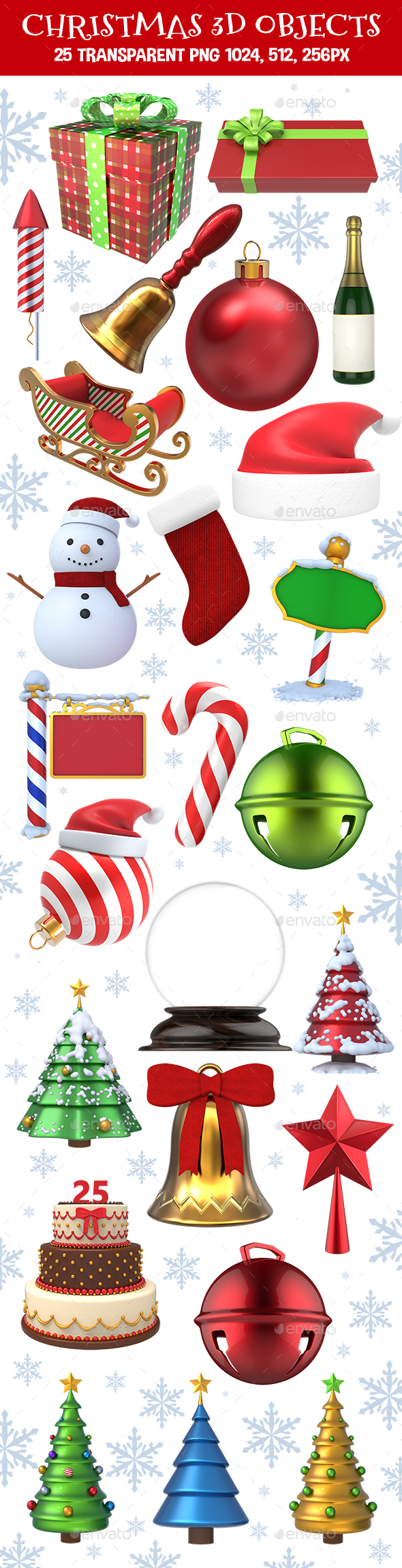 Christmas 3D Objects Set - Objects 3D Renders