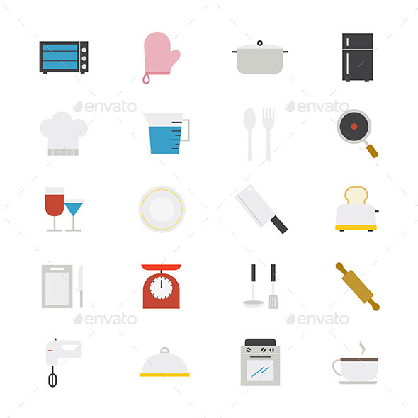 Cooking and Kitchen Utensil Flat Icons Color - Food Objects