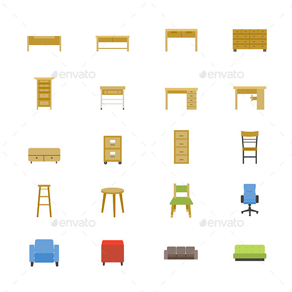 Furniture Office and Home Accessories Flat Icons - Objects Icons