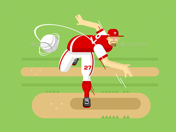 Baseball Player Cartoon Character - Sports/Activity Conceptual