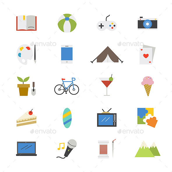 Hobbies and Activities Flat Icons Color - Miscellaneous Icons