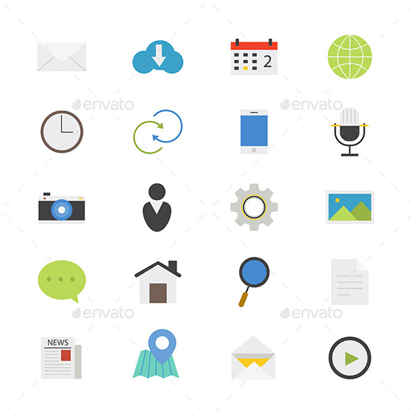 Internet Web and Mobile Flat Icons Color