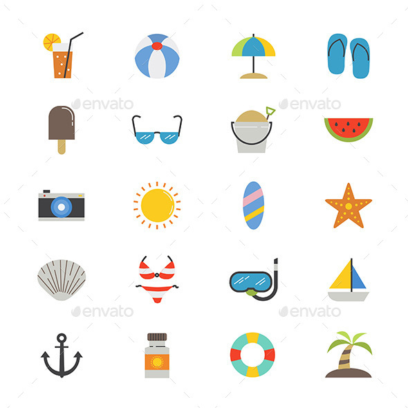 Summer Relax and Beach Flat Icons Color - Seasonal Icons
