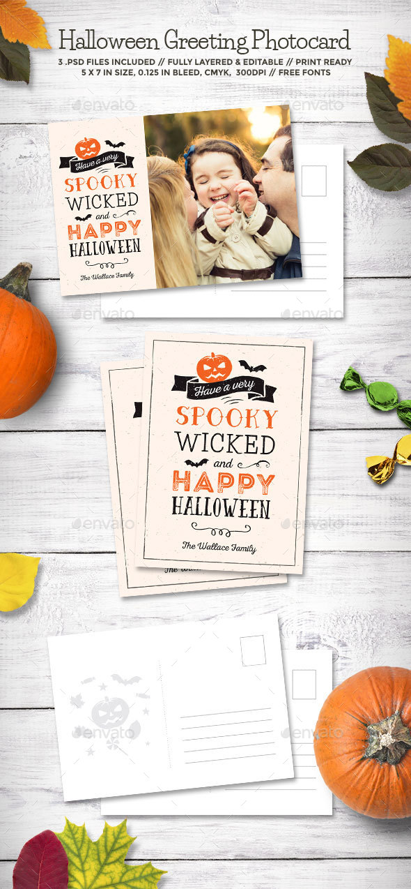Halloween Greeting Photocard - Holiday Greeting Cards