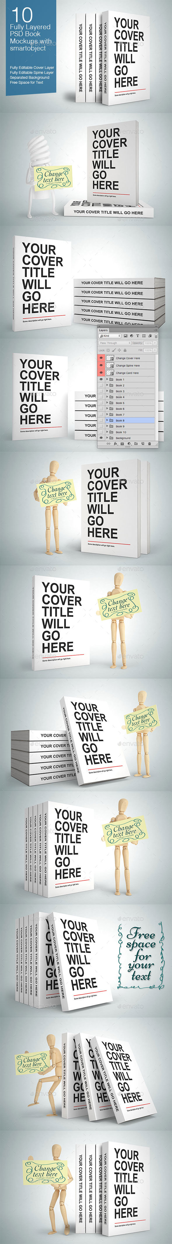 Book Mock-ups - 10 Poses - Books Print