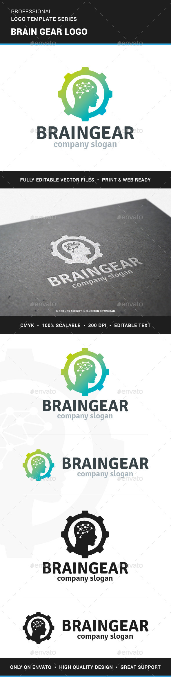 Brain Gear Logo Template