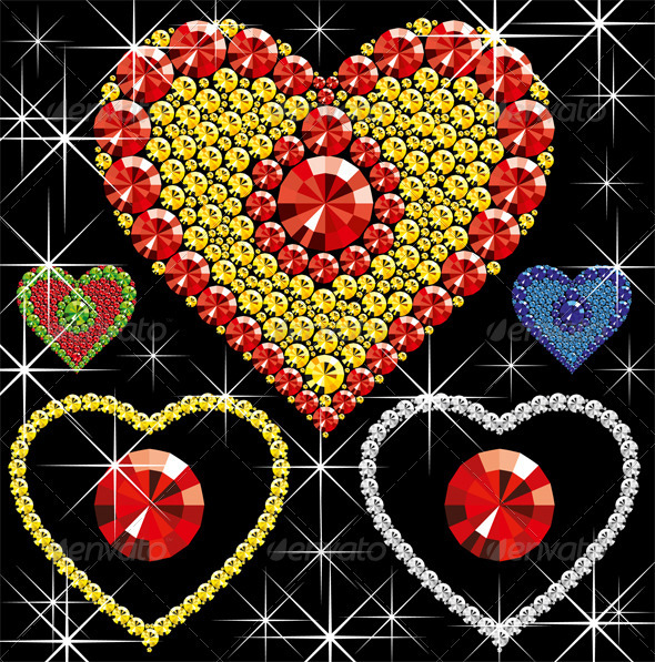 Vector Diamond Hearts - Decorative Vectors
