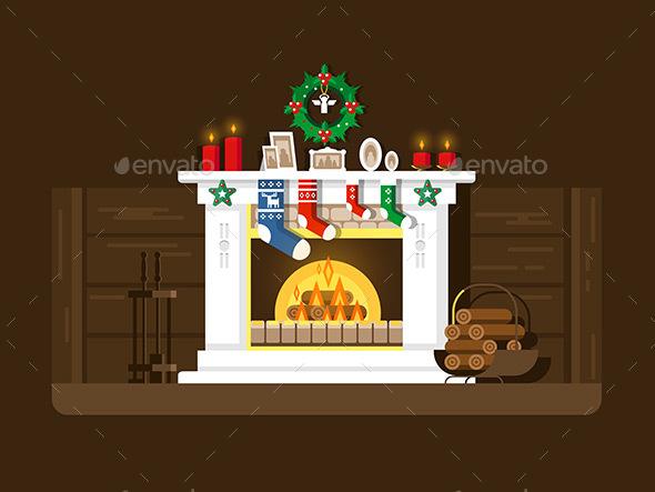 Christmas Fireplace - Christmas Seasons/Holidays