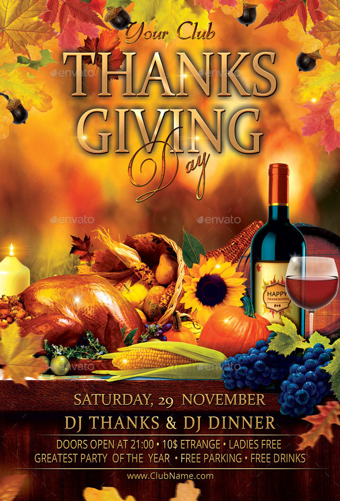 thanksgiving day party flyer by oloreon