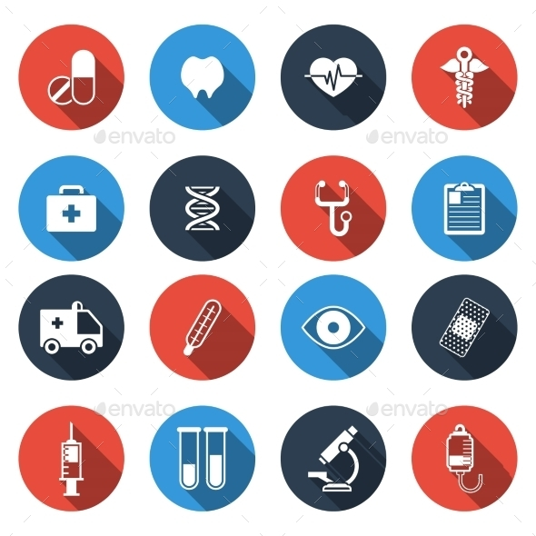 Medical Icons With Long Shadow - Icons