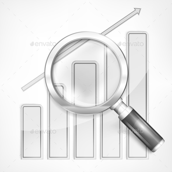 Magnifying Glass and Chart on White  - Miscellaneous Vectors