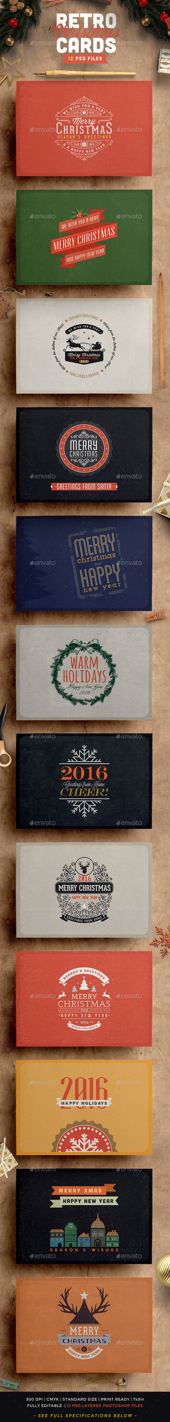 Retro / Vintage Christmas Card Pack - Holiday Greeting Cards