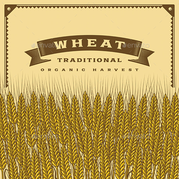 Retro Wheat Harvest Card - Food Objects