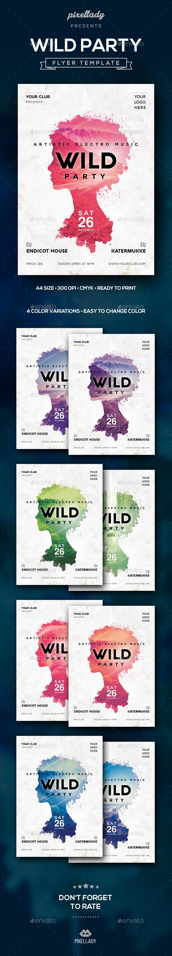 Wild Party Flyer - Flyers Print Templates