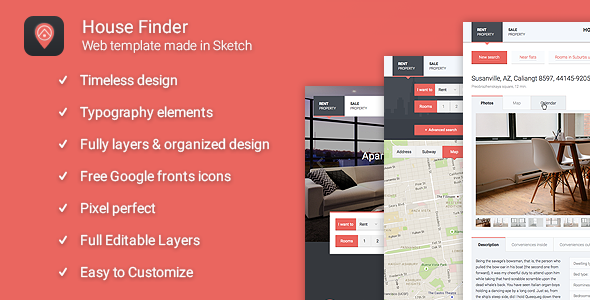 House Finder - Estate Sketch Theme - Sketch Templates