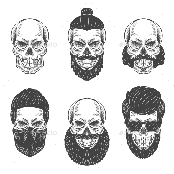 Dotwork Skulls - Tattoos Vectors