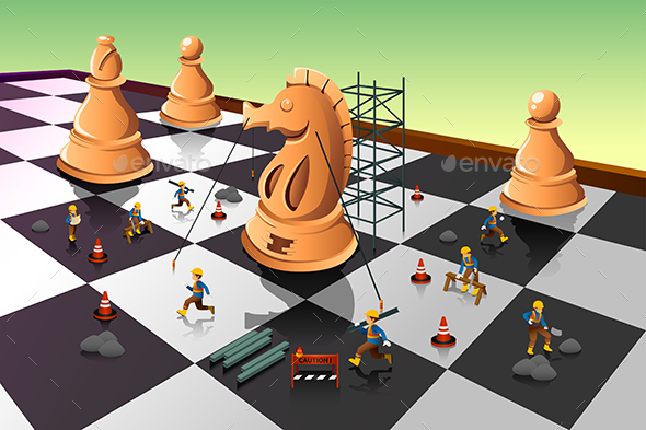 Workers Building a Knight on the Chessboard - Concepts Business