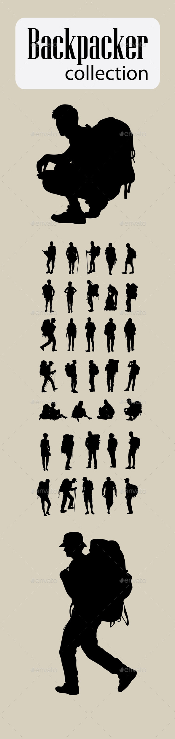 Backpacker Silhouettes - Travel Conceptual
