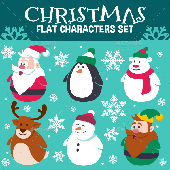 Christmas Flat Characters Set - Miscellaneous Characters