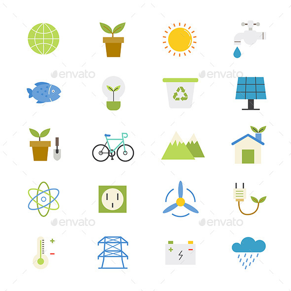 Environmental and Green Energy Flat Icons Color - Technology Icons