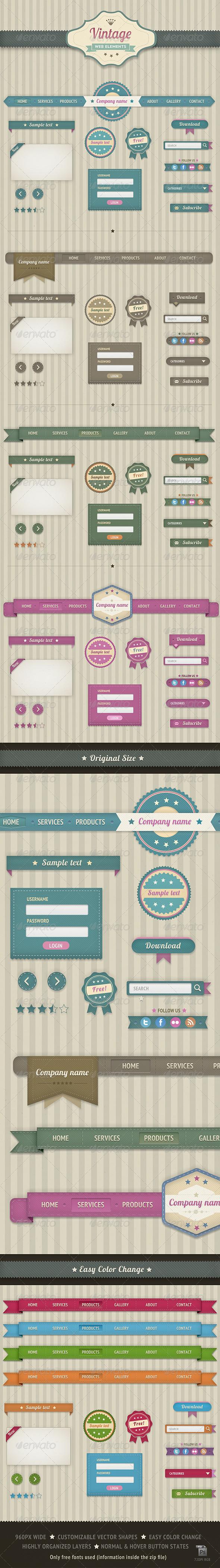 Vintage Web Elements - Navigation Bars Web Elements