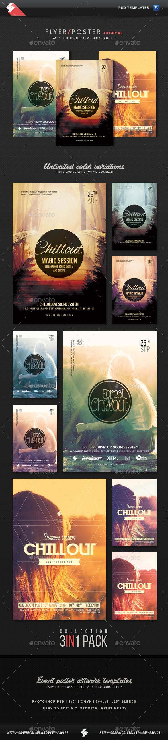 Chillout Collection - Event Flyer Templates Bundle - Clubs & Parties Events