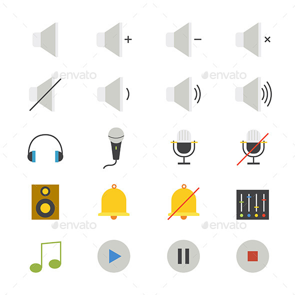 Music and Media Flat Icons Color - Media Icons
