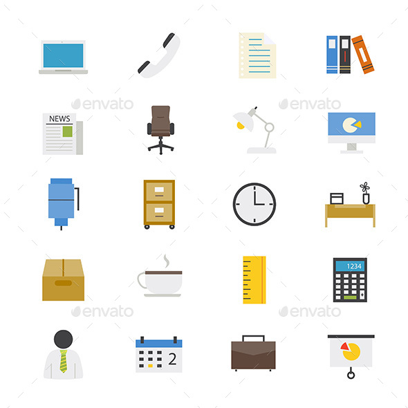 Office and Business Flat Icons Color - Objects Icons