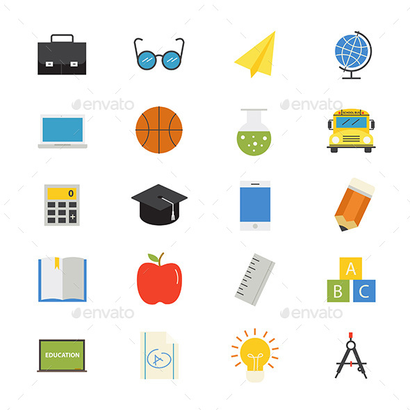 Education and School Flat Icons Color - Objects Icons