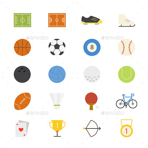 Sport Flat Icons Color - Objects Icons