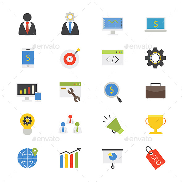SEO Development Flat Icons Color - Business Icons