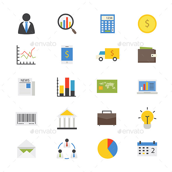 Business and Finance Money Flat Icons Color - Business Icons