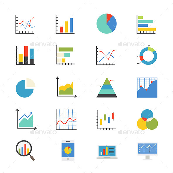 Business Chart and Graph Flat Icons Color - Business Icons