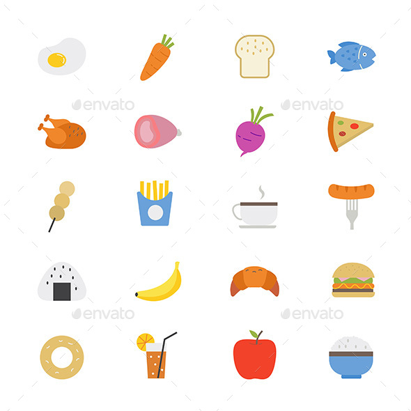 Food and Drink Flat Icons Color - Food Objects