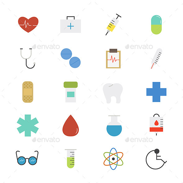 Healthcare and Medical Flat Icons Color - People Characters