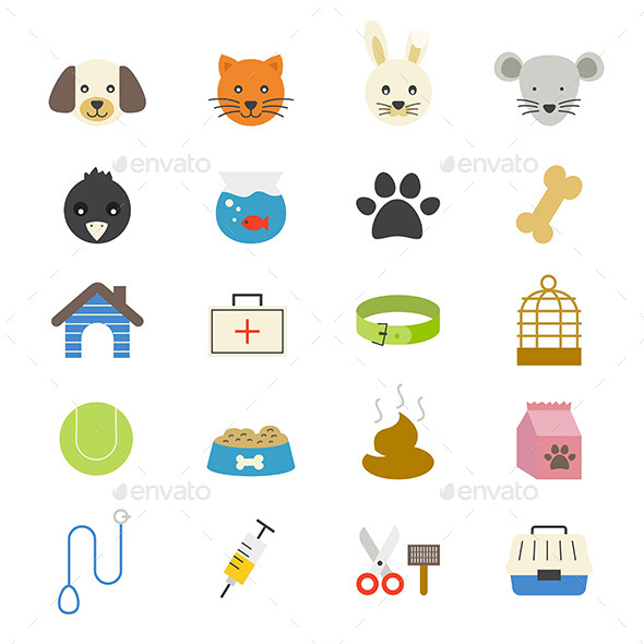 Pet Flat Icons Color - Animals Characters