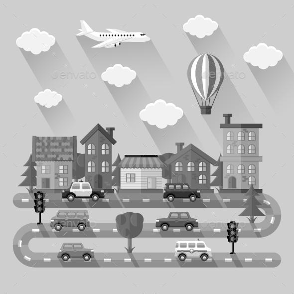 City Landscape. Flat design - Travel Conceptual
