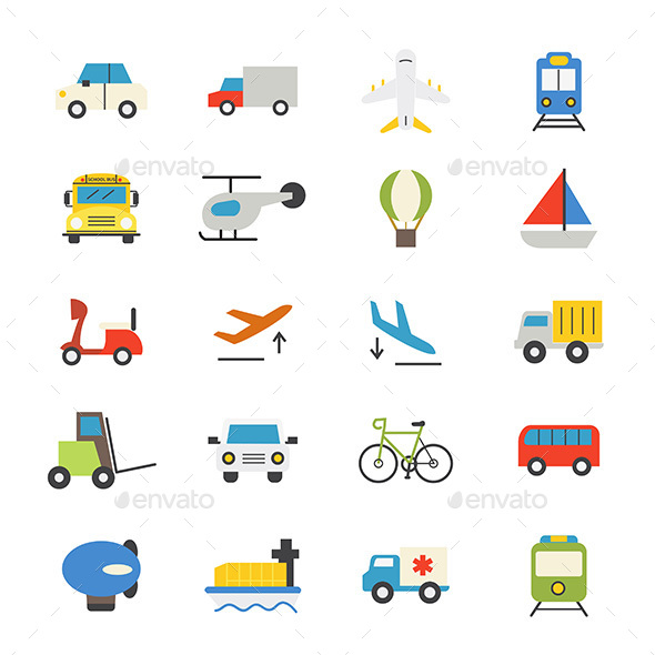 Transportation Flat Icons Color - Icons