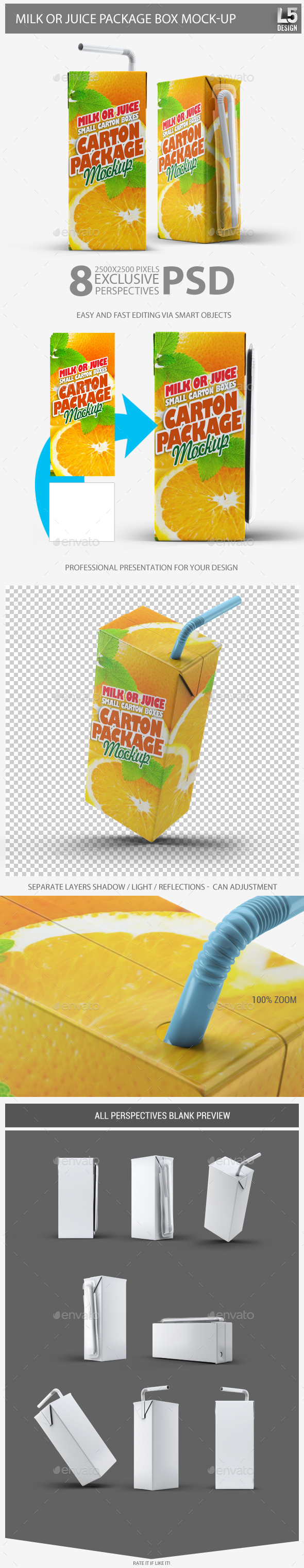 Milk or Juice Package Box Mock-Up - Food and Drink Packaging
